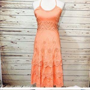 ANTHRO odille Pink orang coral rare halter dress